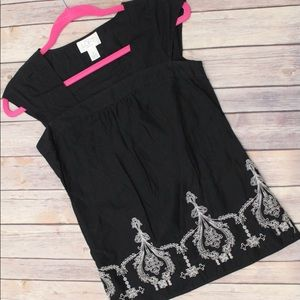 And Taylor Loft Petites Black Embroidered Top 0P